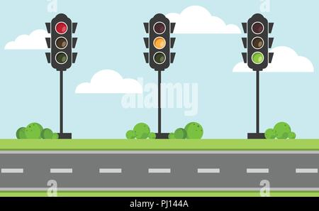 Set of traffic light signal with red, yellow and green color, Flat design and vector of traffic light icon - Stock Photo
