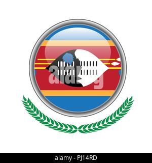 Swaziland flag button. Swaziland flag icon. Vector illustration of swaziland flag on white background. - Stock Photo