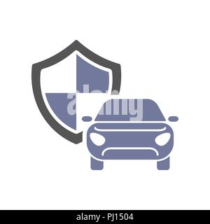 Car guard shield sign, collision insurance, logo emblem protection, driver flat security system badge - Stock Photo