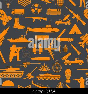 Military background. Seamless pattern. Military elements, armored vehicles. Vector illustration - Stock Photo