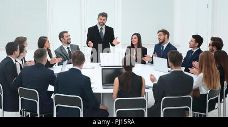 business negotiations at the round table - Stock Photo