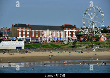 Barry Island, Vale of Glamorgan, South Wales is a popular seaside tourist attraction. Pictured enjoying late summer sunshine 2018 .  Whitmore Bay pic. - Stock Photo