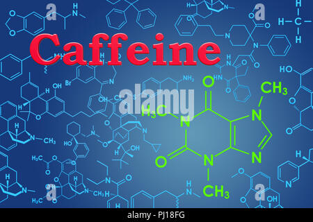 Caffeine Chemical Formula Science Symbol Elements Reaction Stock