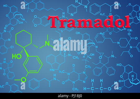 Tramadol. Chemical formula, molecular structure. 3D rendering - Stock Photo