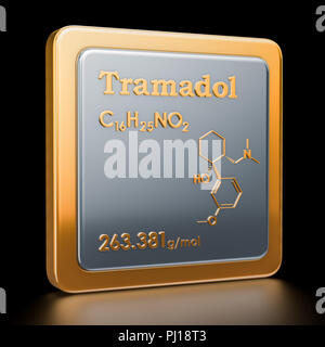 Tramadol. Icon, chemical formula, molecular structure. 3D rendering - Stock Photo