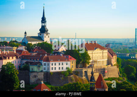 Tallinn Toompea Hill, view towards Toompea Hill with St Mary's Lutheran Cathedral rising above the skyline, Estonia. - Stock Photo