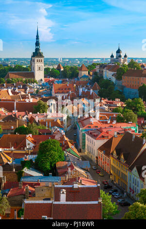 Tallinn cityscape, view in summer across the roofs of the medieval Old Town quarter towards the west of the city, Tallinn, Estonia. - Stock Photo