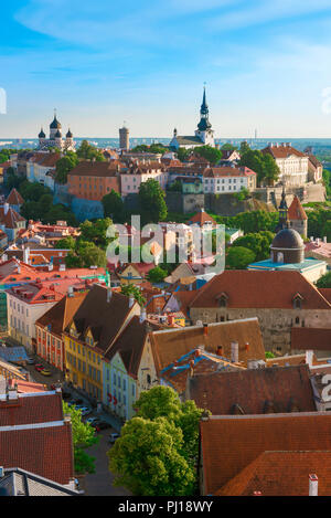 Tallinn Old Town, view across the roofs of the medieval Old Town quarter in the center of the city towards Toompea Hill, Tallinn, Estonia. - Stock Photo