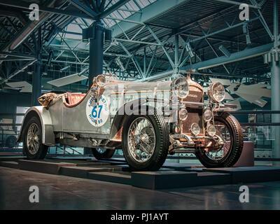 RIGA, LATVIA-APRIL 18, 2018: 1934 Amilcar CGS in the Riga Motor Museum. - Stock Photo