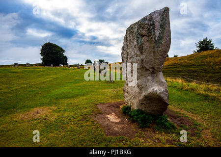 Part of largest megalithic circle in the world erected during the period 3,000 -2,600 BCE by Neolithic Beaker peoples at Avebury, Wiltshire, England. - Stock Photo