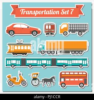 Set of all types of transport icon  for creating your own infographics or maps. Water, road, urban, air, cargo, public and ground transportation set.  - Stock Photo