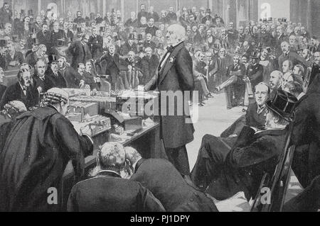 William Ewart Gladstone, , 29 December 1809 – 19 May 1898, British statesman, presenting the Home-Rule-Bill to the english lower house, digital improved reproduction of an woodprint from the year 1890 - Stock Photo