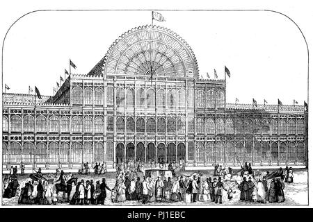 Great Exhibition of the Works of Industry of All Nations or The Great Exhibition, Crystal Palace Exhibition, 1851, London, England, digital improved reproduction of an woodprint from the year 1890 - Stock Photo