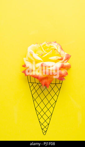 Creative concept photo of flower with illustrated ice cream cone. - Stock Photo