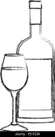 wine cup and bottle icon - Stock Photo