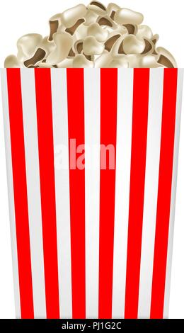 Popcorn striped box mockup, realistic style - Stock Photo