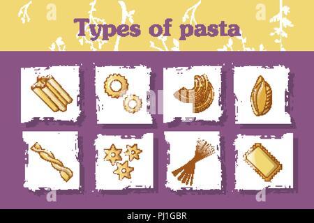 Types of italian pasta concept background, cartoon style - Stock Photo