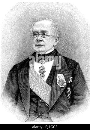 Alexander Mikhailovich Gorchakov, 15 July 1798 – 11 March 1883, a Russian diplomat and statesman, digital improved reproduction of an woodprint from the year 1890 - Stock Photo