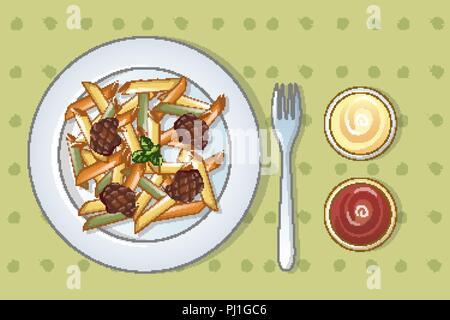 Italian tasty pasta concept background, cartoon style - Stock Photo