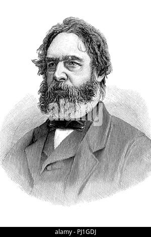 Henry Wadsworth Longfellow (February 27, 1807 – March 24, 1882)  American poet and educator, digital improved reproduction of an woodprint from the year 1890 - Stock Photo