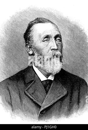 Heinrich von Stephan, Ernst Heinrich Wilhelm Stephan, January 7, 1831 – April 8, 1897, general post director for the German Empire, digital improved reproduction of an woodprint from the year 1890 - Stock Photo