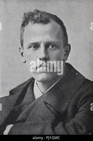 Fridtjof Nansen, 10 October 1861 – 13 May 1930, was a Norwegian explorer, scientist, digital improved reproduction of an woodprint from the year 1890 - Stock Photo