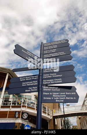 Signpost in Cardiff Bay pointing out to visitors the direction to attractions and landmarks. - Stock Photo
