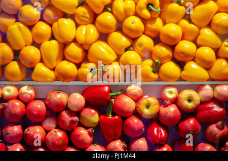 yellow and red fruits background - Stock Photo