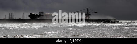Panorama of the Leixoes harbor south wall in a stormy day - Stock Photo