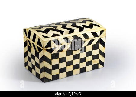 Old black and white wood box used for decoration - Stock Photo