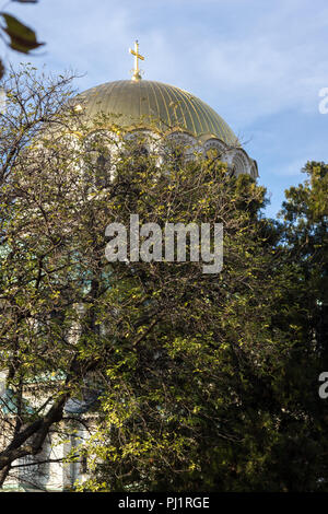 SOFIA, BULGARIA - NOVEMBER 7, 2017: Golden Domes  of Cathedral Saint Alexander Nevski in Sofia, Bulgaria - Stock Photo
