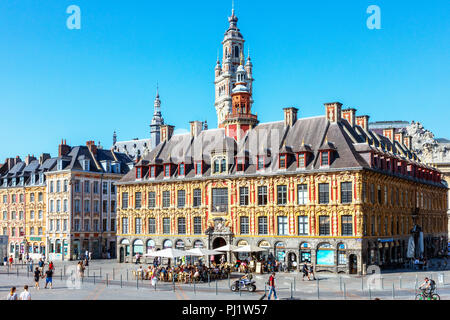 La Vielle Bourse de Lille, originally the Chamber of Commerce building, situated in Grand Place near to Place du general de Gaulle, now housing cafes, - Stock Photo