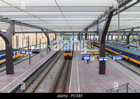 Rotterdam, Netherlands - May 25, 2018:  Train At Rotterdam Centraal Station - Stock Photo