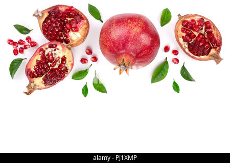 pomegranate with leaves isolated on white background with copy space for your text. Top view. Flat lay pattern. - Stock Photo