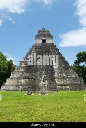 Tikal Guatemala, Mayan ruins with Temple 1 - Stock Photo