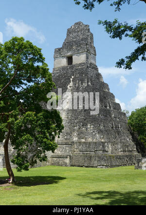 Tikal, Mayan ruins, Guatemala with Temple 1 - Stock Photo