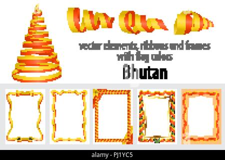 vector elements, ribbons and frames with flag colors Bhutan, template for your certificate and diploma. - Stock Photo