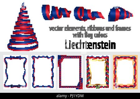 vector elements, ribbons and frames with flag colors Liechtenstein, template for your certificate and diploma. - Stock Photo