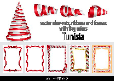 vector elements, ribbons and frames with flag colors Tunisia, template for your certificate and diploma. - Stock Photo