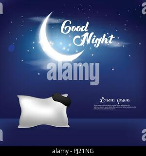 Good Night Vector Illustration Background Template Design Concept - Stock Photo