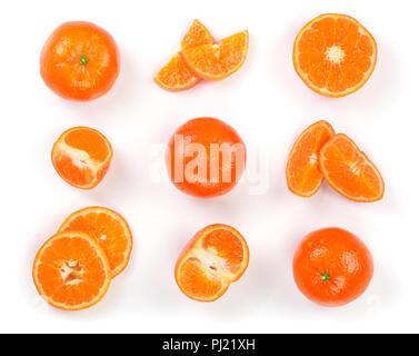 Mandarin, tangerine citrus fruit isolated on white background. Top view. Flat lay. - Stock Photo