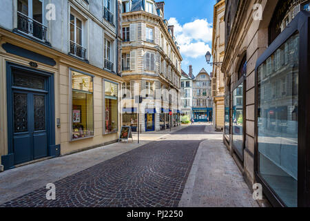 Historic centre of Troyes with half timbered buildings in Troyes, Aube, France on 31 August 2018 - Stock Photo