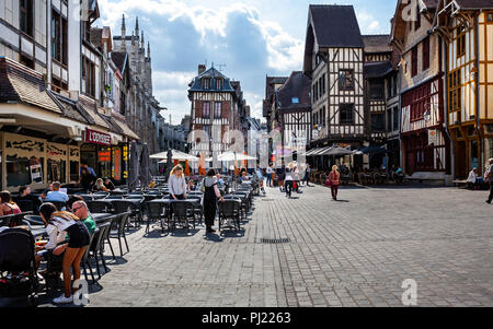 Medieval centre of Troyes with half timbered buildings in Troyes, Aube, France on 31 August 2018 - Stock Photo