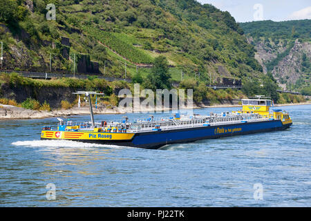 Piz Roseg, 110m asphalt tanker, registered in the Netherlands, on the river Rhine, near Oberwesel Germany - Stock Photo