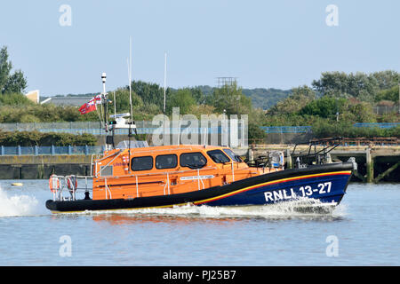 "London, UK, 3rd September 2018  – The newest RNLI Shannon-class Lifeboat 13-27, called ""Joanna and Henry Williams"", seen heading up the River Thames at speed as it heads to London. Credit: A Christy/Alamy Live News. - Stock Photo"