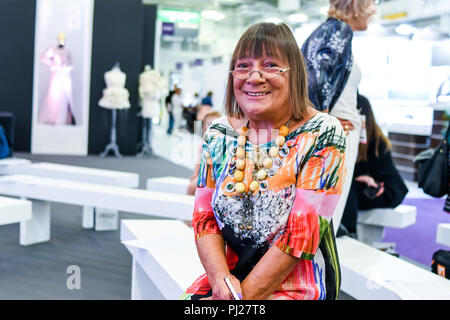 London, UK. 3rd September, 2018. Hilary Alexander, Fashion journalist attend the International Jewellery London 2018, Olympia London, UK. Credit: Picture Capital/Alamy Live News - Stock Photo