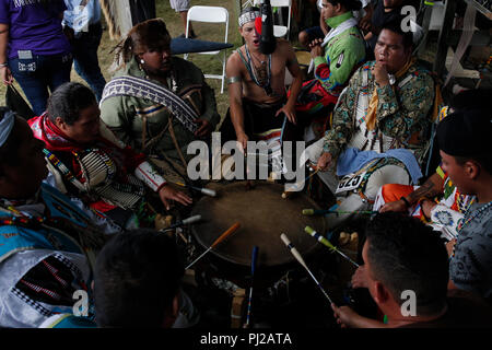Southhampton, United States of America. 03rd Sep 2018. Group of Native American prepares to dance during the celebration of the 72nd annual Shinnecock Indian Powwow over the Labour Day weekend in Southampton Long Island New York in Southhampton, United States of America, 03 September 2018. (PHOTO) Alejandro Sala/Alamy News - Stock Photo