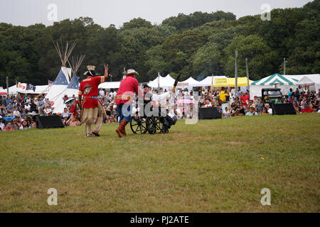 Southhampton, United States of America. 03rd, Sep 2018. William Bodeman Chapman Native American World War II veteran great the public during 72nd annual Shinnecock Indian Powwow over the Labour Day weekend in Southampton Long Island New York in Southhampton, United States of America, 03 September 2018. (PHOTO) Alejandro Sala/Alamy News - Stock Photo