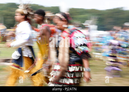 Southhampton, United States of America. 03rd, Sep 2018. Traditional dance during the celebration of the 72nd annual Shinnecock Indian Powwow over the Labour Day weekend in Southampton Long Island New York in Southhampton, United States of America, 03 September 2018. (PHOTO) Alejandro Sala/Alamy News - Stock Photo