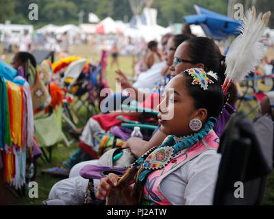 Southhampton, United States of America. 03rd, Sep 2018. A Native American prepares to dance during the celebration of the 72nd annual Shinnecock Indian Powwow over the Labour Day weekend in Southampton Long Island New York in Southhampton, United States of America, 03 September 2018. (PHOTO) Alejandro Sala/Alamy News - Stock Photo
